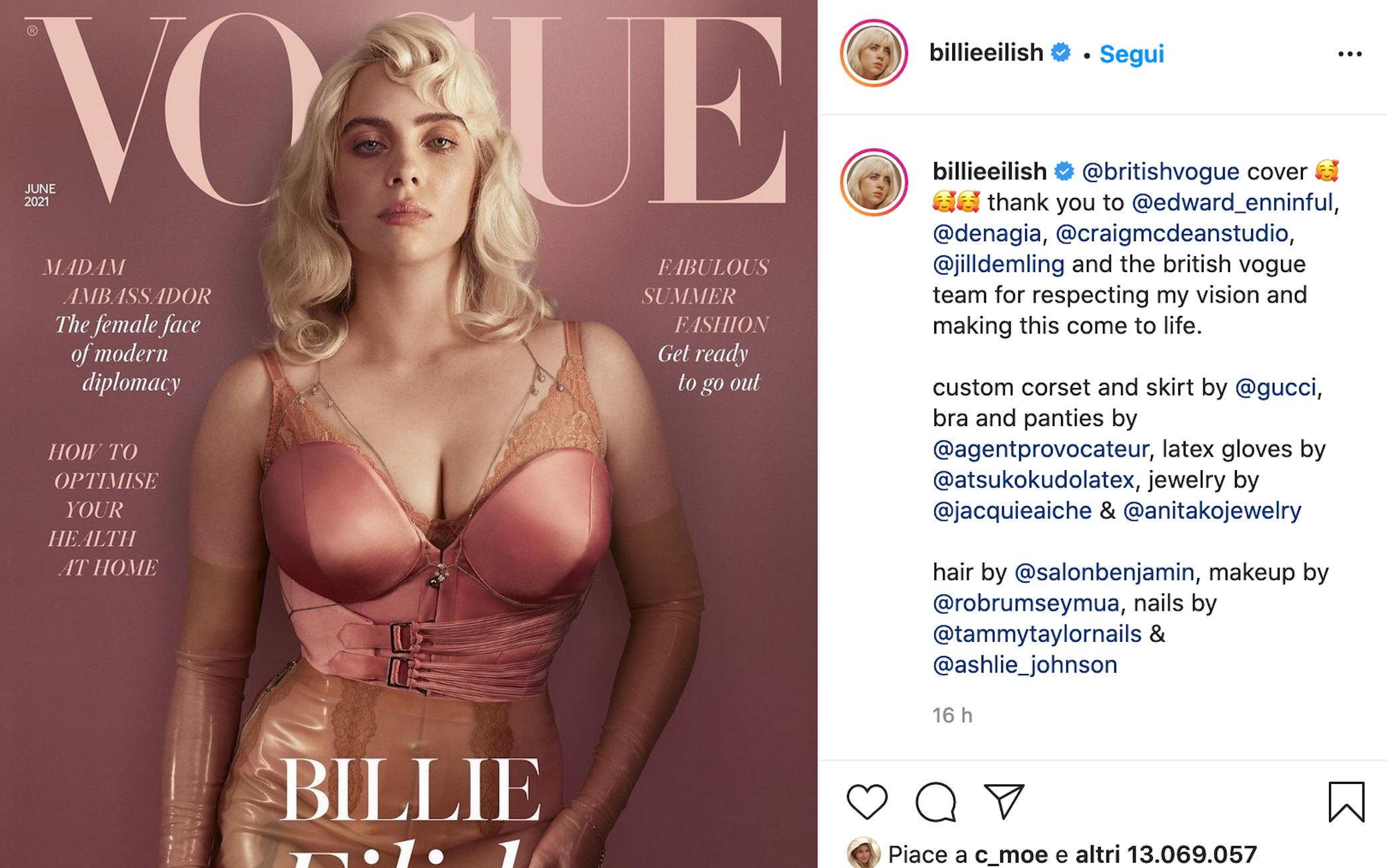 billie eilish IG - Billie Eilish alla riscoperta del corpo